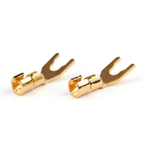 2 Pcs Copper Gold Plated Spade Terminal Connector Plug For Speaker Cable Wire UE