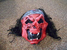 Scary Evil (Easter Unlimited Inc) Red Devil Skeletal Halloween Mask With Hair