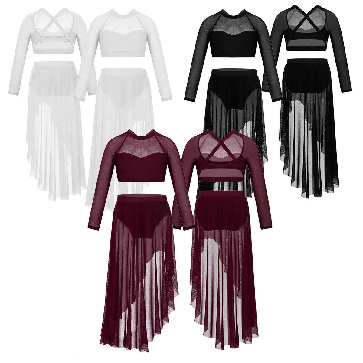Girls Ballet Praise Lyrical Dance Dress Crop Top Skirt Outfit 2PCS Kids Costume