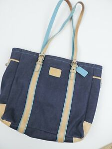 Women-039-s-Blue-amp-Teal-C-Coach-Tote-Bag-Purse