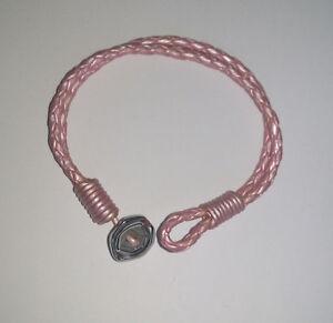 Ladies-Pink-Plaited-Leather-Bracelet