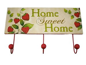 Coat-Robe-Hooks-Rack-Kitchen-Strawberry-Design-Home-Sweet-Home-Plaque-SG1294