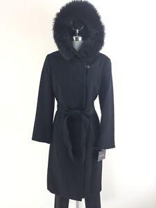 Cappotto petite 14p naturale New cappuccio pelliccia di misto volpe nera Ellen Tracy Wt taglia lana con in vtxwZAa