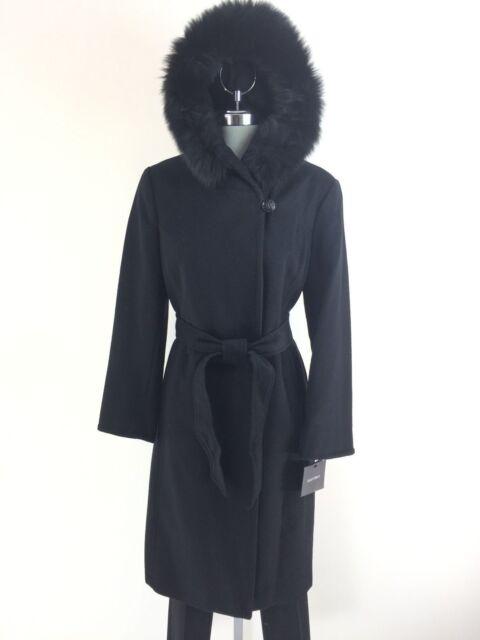 ELLEN TRACY New WT Black Wool-blend Natural Fox fur Hooded Coat Petite size 14P