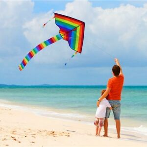 Colorful-Rainbow-Triangle-Kite-Outdoor-Fun-Sports-Beach-Kids-Children-Fly-Toys