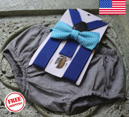 1st Birthday boy cake smash bow tie suspenders outfit gray blue bloomer US