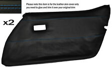 BLUE STITCH 2X FRONT FULL DOOR CARD LEATHER SKIN COVER FITS CORVETTE C3 78-82