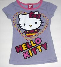 NWOT Hello Kitty Lavender purple big cat heart face head glitter tee t-shirt 4