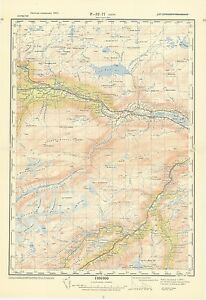 Topographic Map Of Norway.Russian Soviet Military Topographic Maps Skjak Norway 1 100 000