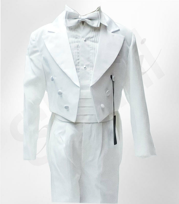 Boys Ivory Cream Tuxedo Tail Suit 5 Piece Christening