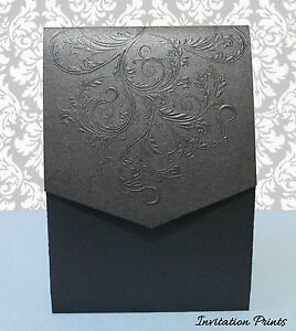 Elegant Embossed Damask Metallic Black Pocket Folder ...
