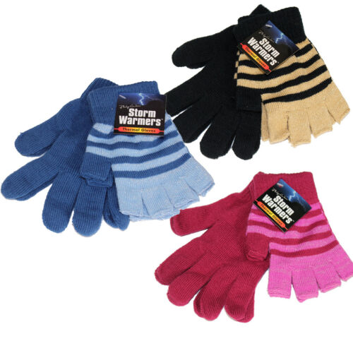 Ladies Thermal Gloves Fingerless Luxury 2 Pair Magic Winter Warm Insulated Girls