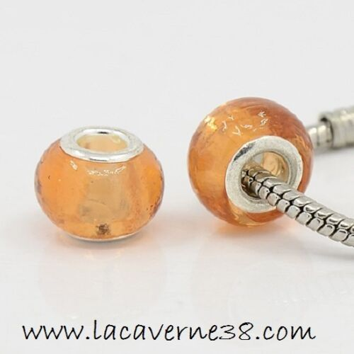 3 véritables perles de Murano gros trou 5mm diam 15 mm mandarine bijoux bracelet