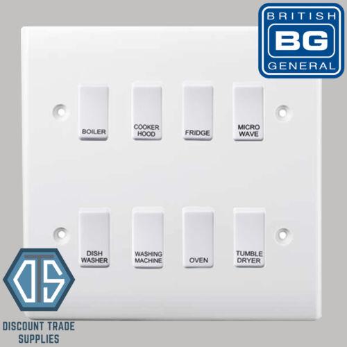BG White Custom Grid Switch Panel Labelled Kitchen Appliance 8 Gang