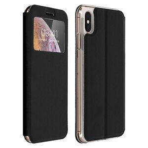 Custodia-FLIP-FINESTRA-Custodia-Flip-Portafoglio-con-Supporto-per-Apple-iPhone-XS-Max-Nero