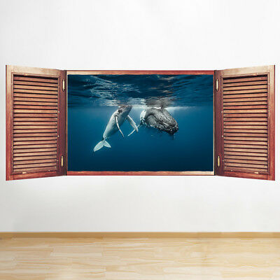 S275 Whale Ocean Sea Bathroom Window Wall Decal 3d Art Stickers Vinyl Room Ebay