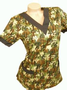 New-Women-Nursing-Scrubs-Green-Brown-Camouflage-Poly-Cotton-Top-XS-S-M-L-XL