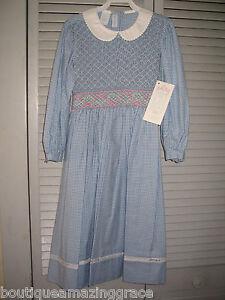 Girls-Smocked-Dress-Boutique-6X-CAROLINE-BLUE-Classic-Church-NWT-Vive-La-Fete