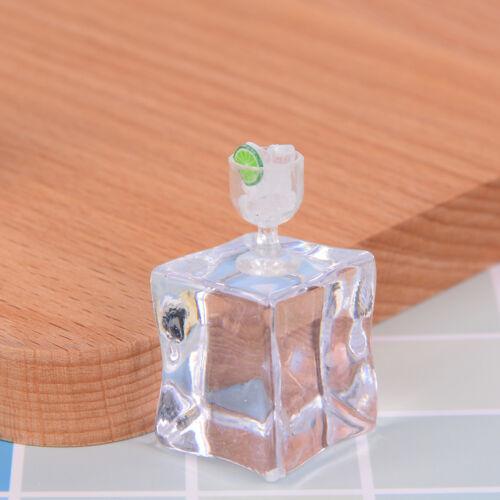 2 Stücke puppenhaus spielzeug modell miniature food mini glas tasse+eiswürfeRSFD