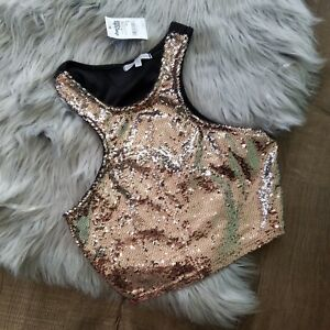 0ce691e099 Sequin Crop Top Champagne Sleeveless Halter New Years Party Top NWOT ...