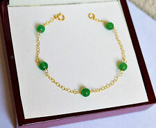 Natural Green EMERALD Faceted Chain Bracelet 14K Yellow Gold Handcrafted