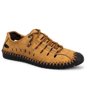 Men-039-s-Summer-Fashion-Leather-Shoes-Lace-Up-Flat-Sneakers-Outdoor-Beach-Sandals