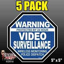 "5 Pack Warning 24 hour Video Surveillance Stickers  ""OCT"" BLUE Alarm Decal FS061"