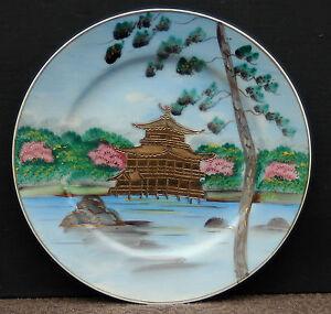 Alterer-Chinesischer-Porzellan-Teller-034-Chinesische-Pagode-034-Handgemalt-Nr-12