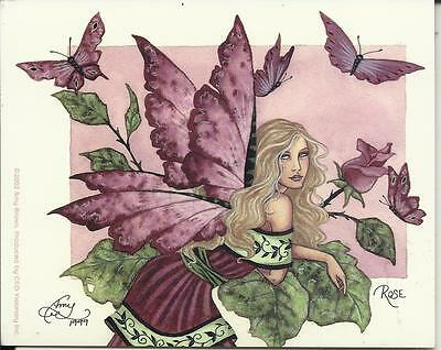 """AMY BROWN FAIRY FAERY STICKER DECAL """"ROSE"""" FROM 2002"""