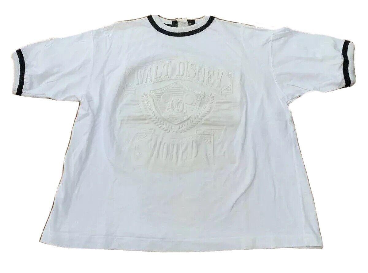 Walt Disney World Oringals Raised Logo 3D Ringer Shirt USA Size S/M VTG 90's