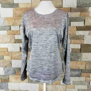 LOLE-Womens-Sz-M-L-Scoop-Neck-Long-Sleeve-Active-Top-Heathered-Gray