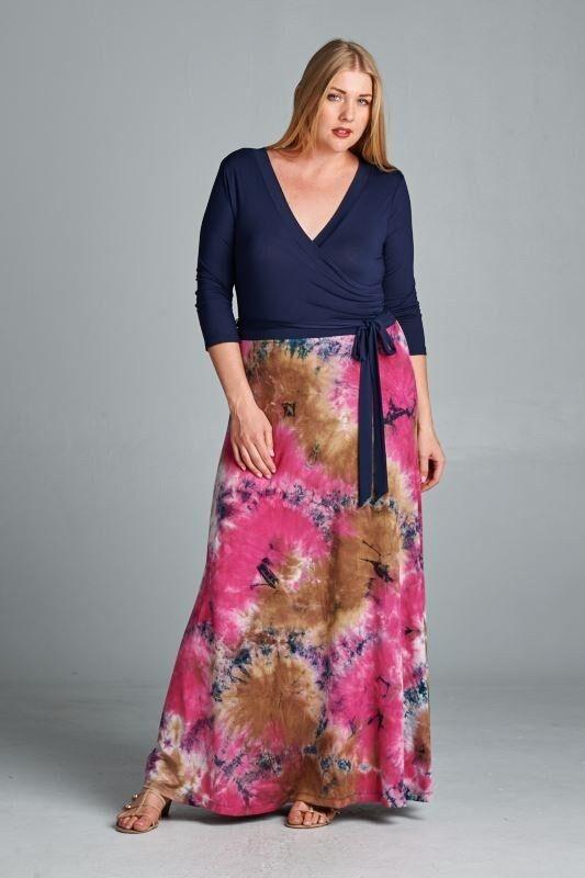 BNWT Blossom Escape Bohemian Tie Dye Maxi Dress Größes 14 & 18 CURVED BY NATURE