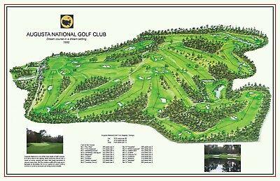 Augusta National 1932 Mackenzie Jones A Vintage Golf Course Map Ebay