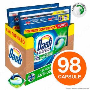 98 Pastiglie Dash All in 1 Pods Anti Odore Detersivo per Lavatrice 98 Lavaggi