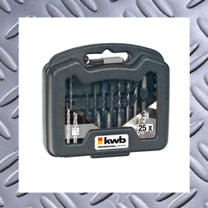 kwb 25tlg Stein,Holz,Metall 2 Bithalt 12xBits PH,PZ,Flach Set 11x Bohrer f
