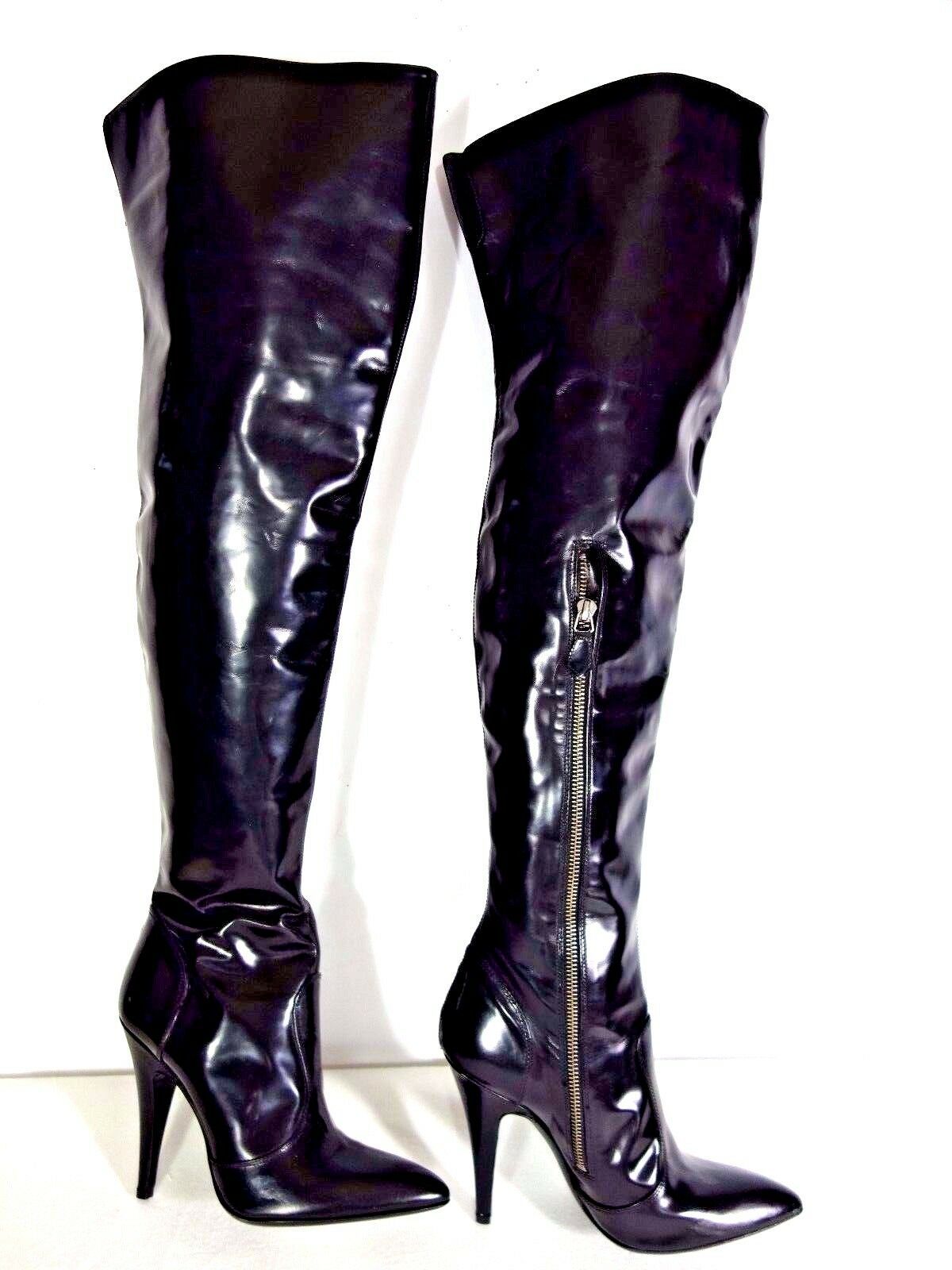 *NEW* Burberry 38 -  Black Leather Pointed Zipper Side Over the Knee boots