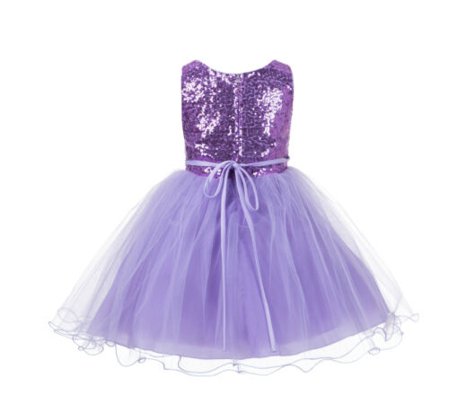 NEW Wedding Sequin Mesh Flower Girl Dresses Reception Christmas Halloween 011NF