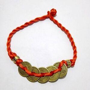 Red line weaving 5 ancient coins Tibetan Buddhism blessing Bracelet