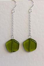 Unusual STERLING SILVER 925 EARRINGS Czech GLASS Olive Green Lollipop HANDMADE