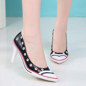Grace-para-Mujer-Tacon-Alto-Zapatos-informales-Color-Mezclado-Puntera-en-Punta-Fiesta-Encaje-Hasta
