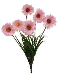6-Gerbera-Daisy-PINK-Tall-BUSH-Wedding-Bridal-Bouquet-Silk-Flowers-Centerpiece