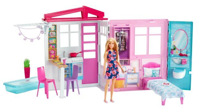 Barbie Casa de muñecas con muebles y accesorios, juguete +3 años (Mattel FXG55)
