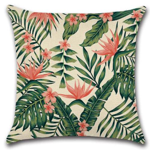 Kissenbezug Kissenhülle Baumwolle Leinen Sommer Tropisch Blätter Kopfkissenbezug