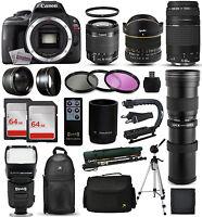 Canon Rebel Sl1 Dslr Camera + 18-55mm Is Ii + 75-300mm Iii + 420-1600mm + 128gb