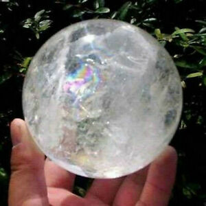 40mm-NATURAL-RAINBOW-LARGE-CLEAR-QUARTZ-CRYSTAL-SPHERE-BALL-HEALING-GEMSTONE