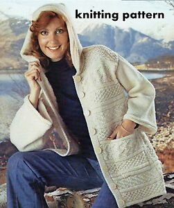 Aran Knitting Pattern With Hood : KNITTING PATTERN TO MAKE LADIES ARAN JACKET WITH HOOD 32 ...