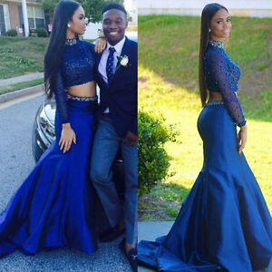 2019 Blue 2 Piece Prom Dresses Long Sleeve Evening Party Bridesmaid