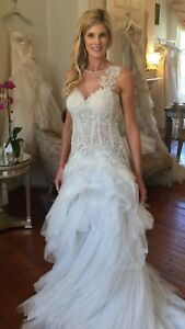 Pallas Couture New Ivory Aveline Wedding Gown Size 8 Ebay