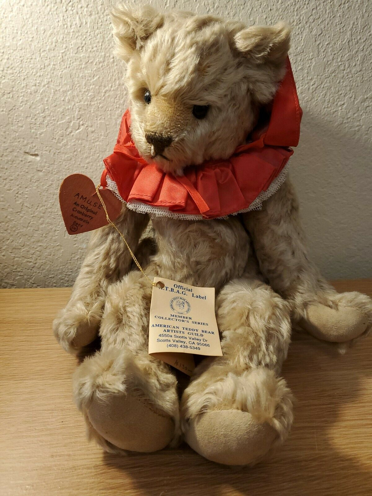 American Teddy orso Artists Guild LE 5 7 MOHAIR SWEDE PAWS 15in NWT 1989