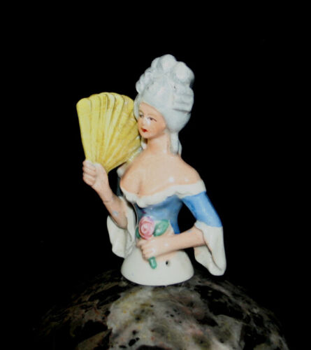 Antique German china porcelain Half Doll rococo Pincushion Doll with fan 2 3//4/""